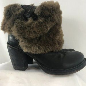 Pakros Leather Booties with Faux Fur Cuff